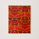 Pretty Red Mosaic Tiles Girly Pattern Jigsaw Puzzle