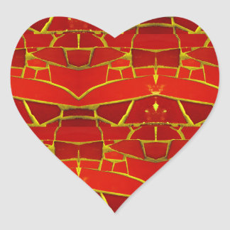 Pretty Red Mosaic Tiles Girly Pattern Heart Sticker