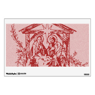 Pretty Red Nativity Wall Decal