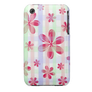 Pretty Red Petal Flower with brushed pastel stripe iPhone 3 Case-Mate Cases