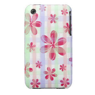 Pretty Red Petal Flower with brushed pastel stripe iPhone 3 Covers