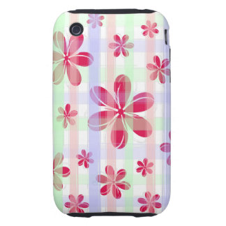 Pretty Red Petal Flower with brushed pastel stripe iPhone 3 Tough Case