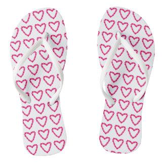 Pretty Red Pink Heart of Hearts FlipFlops Flip Flops
