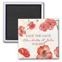 Pretty Red Poppies floral save the Date Magnet