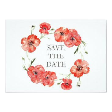 Pretty Red Poppies floral save the dates Card