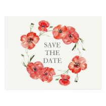 Pretty Red Poppies floral save the dates Postcard