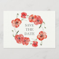 Pretty Red Poppies floral save the dates Save The Date