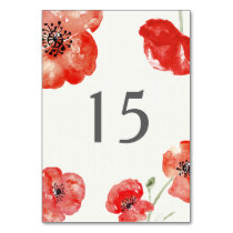 Pretty Red Poppies floral table number Card