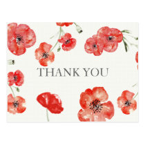 Pretty Red Poppies floral Thank You notes