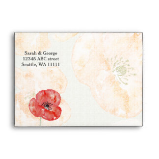 Pretty Red Poppies floral wedding envelope