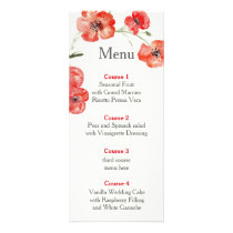 Pretty Red Poppies floral wedding menu