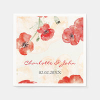 Pretty Red Poppies floral wedding napkin