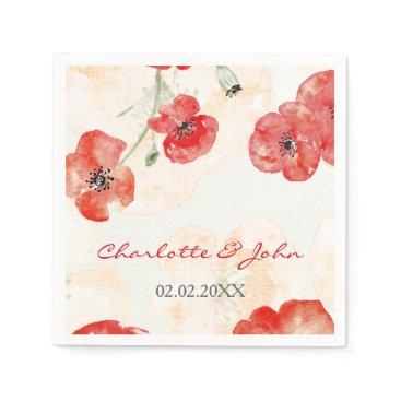 Pretty Red Poppies floral wedding napkin