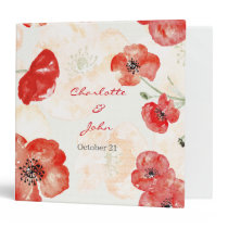 Pretty Red Poppies floral wedding Planner Binder