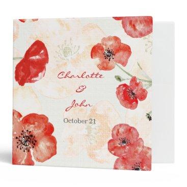 Pretty Red Poppies floral wedding Planner Binder