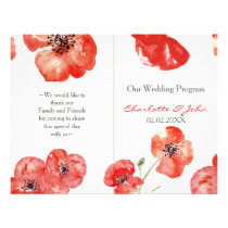 Pretty Red Poppies floral wedding program