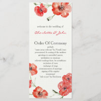 Pretty Red Poppies floral wedding programs