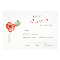 Pretty Red Poppies floral wedding RSVP card