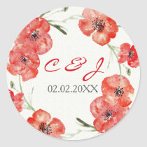 Pretty Red Poppies floral wedding stickers