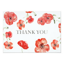 Pretty Red Poppies floral wedding Thank You Card