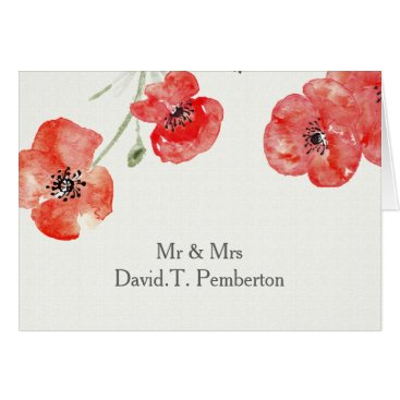 Pretty Red Poppies modern floral Place Cards