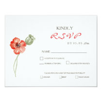 Pretty Red Poppies modern floral wedding RSVP card