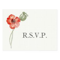 Pretty Red Poppies modern floral wedding rsvp Postcard