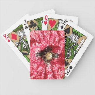 Pretty Red Poppy Flower Macro Playing Cards