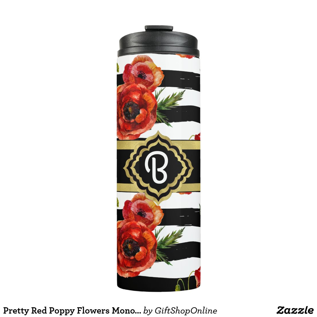 Pretty Red Poppy Flowers Monogrammed Thermal Tumbler