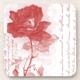 Pretty Red Rose Beverage Coaster