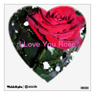 Pretty Red Rose Heart Stickers Room Decal