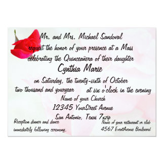 Pretty Red Rose Quinceanera Birthday 5.5x7.5 Paper Invitation Card