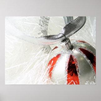 Pretty Red & Silver Ornament Poster