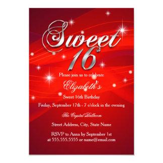 Pretty Red Sparkle Sweet Sixteen Invitation