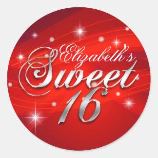 Pretty Red Sparkle Sweet Sixteen Sticker