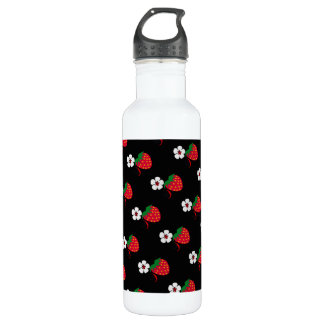 Pretty Red Strawberries Stainless Steel Water Bottle