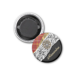 Pretty red tartan plaid and white lace 1 inch round magnet