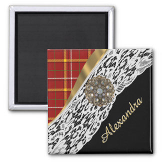 Pretty red tartan plaid and white lace 2 inch square magnet