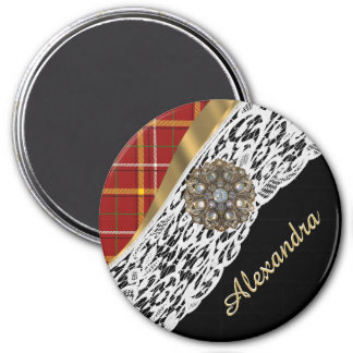 Pretty red tartan plaid and white lace 3 inch round magnet
