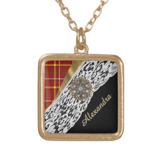 Pretty red tartan plaid and white lace gold plated necklace