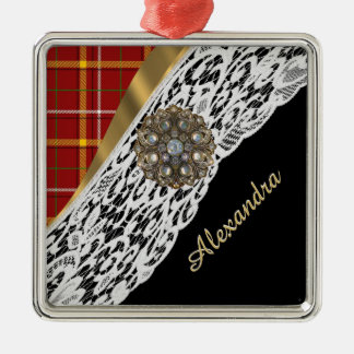 Pretty red tartan plaid and white lace metal ornament
