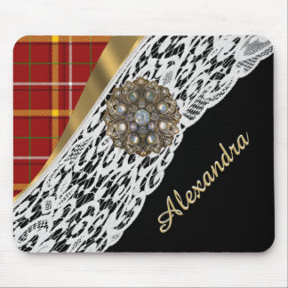Pretty red tartan plaid and white lace mouse pad