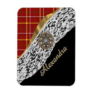 Pretty red tartan plaid and white lace rectangular photo magnet