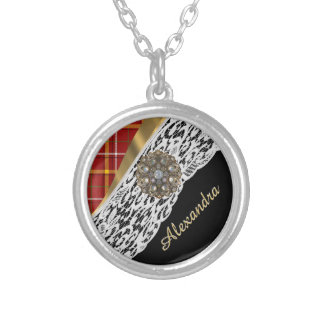 Pretty red tartan plaid and white lace silver plated necklace