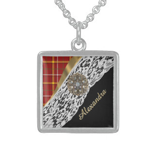 Pretty red tartan plaid and white lace sterling silver necklace