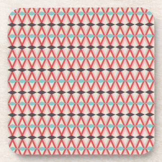 Pretty Red Teal Aztec Weaving Diamond Pattern Beverage Coaster