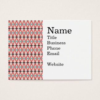Pretty Red Teal Aztec Weaving Diamond Pattern Business Card