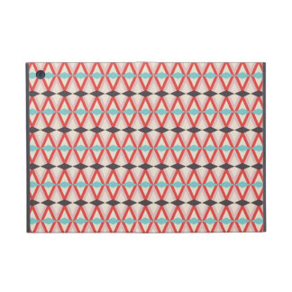 Pretty Red Teal Aztec Weaving Diamond Pattern Cover For iPad Mini