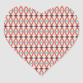 Pretty Red Teal Aztec Weaving Diamond Pattern Heart Sticker