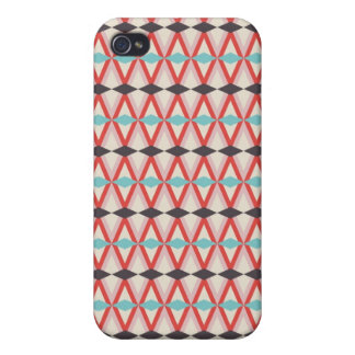Pretty Red Teal Aztec Weaving Diamond Pattern iPhone 4/4S Cases